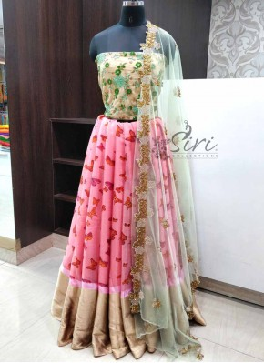 Trendy Shimmer Jute Silk Lehenga Fabric with Cut Work Dupatta