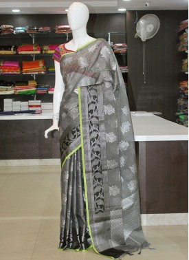 Trendy Silver Grey Black Saree in Silver Zari
