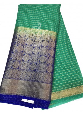 Turquoise Blue Organza Checks Fabric with Blue Contrast Kanchi Border per meter