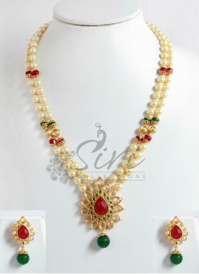 Two Line Pearl Necklace in Polki Pendant and Earrings