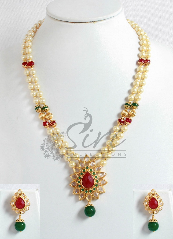 Two line pearl necklace in polki pendant and earrings aloadofball Gallery
