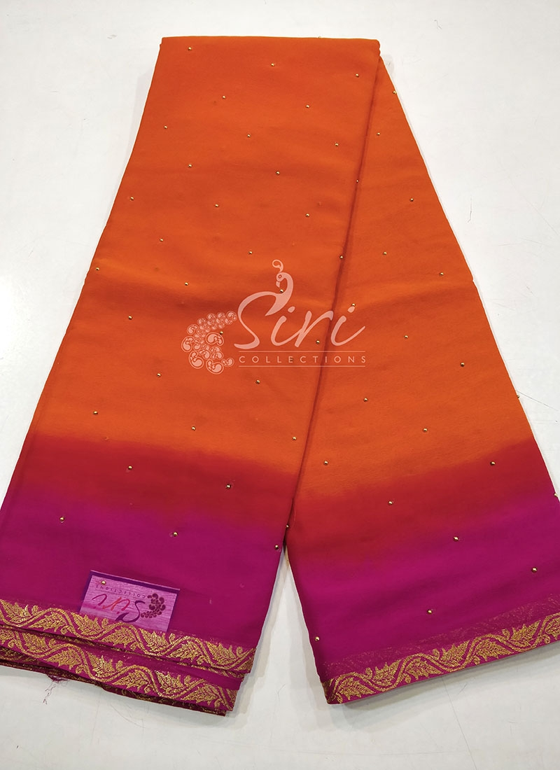 Two Shade Fancy Chiffon Saree in Bead Butis