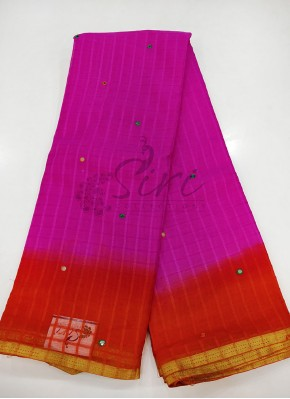 Two Shade Fancy Chiffon Saree in Self Checks and Mirror Work
