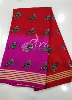 Two Shaded Pink and Red Fancy Jute Saree in Birds Print