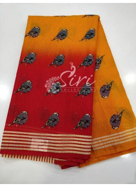 Two Shaded Red and Orangish Yellow Fancy Jute Saree in Birds Print