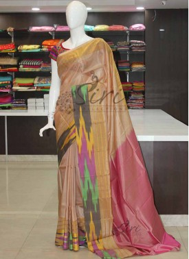 Uppada Pattu Silk Saree in Multi Colour Ikkat design Border