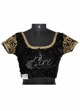Velvet Black Stitched Saree Blouse with Heavy Stone Work