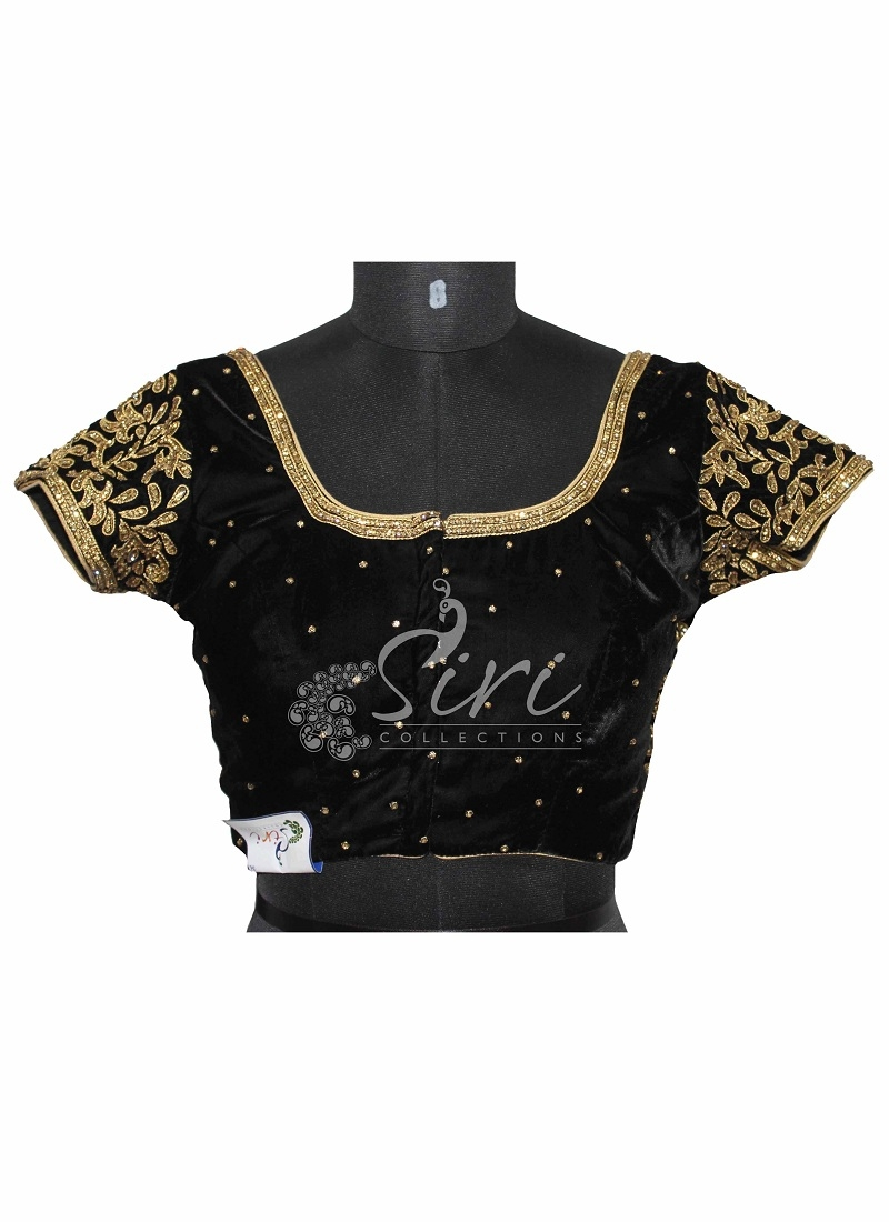 d8176e89b9a602 Velvet Black Stitched Saree Blouse with Heavy Stone Work