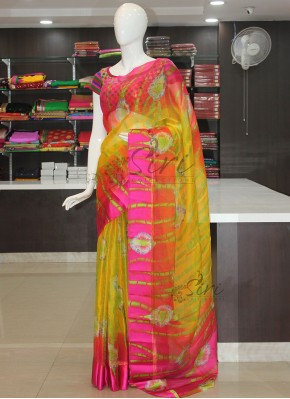 Vibrant Multi Colour Jute Crepe Saree