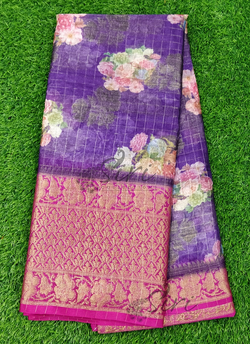 Vibrant Purple and Magenta Organza Saree in allover Flower Design with Kanchi Border