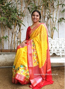 Vibrant Yellow Red Pure Banarasi Georgette Saree