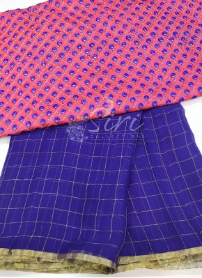 Violet Blue Fine Chiffon Saree in Zari Checks