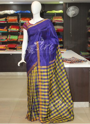 Violet Lemon Yellow Checkered Design Patli Pallu Uppada Silk Saree