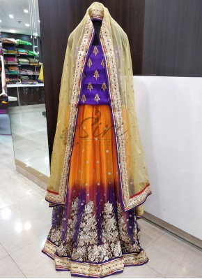 Violet Marigold Orange Shaded Net Heavy Lehenga Set
