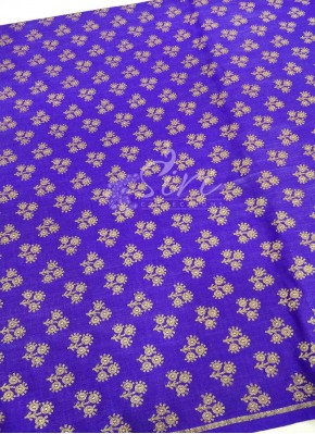 Violet Pure Banarasi Silk Fabric in Antique Zari Butis Per Meter