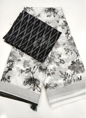 White Black Printed Linen Saree With Ikat Blouse