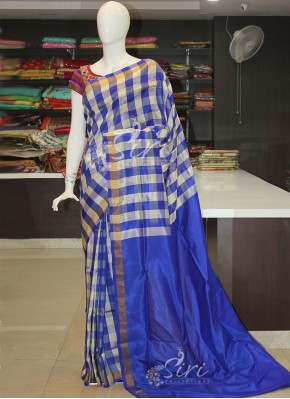 White Blue Checks Uppada Pattu Silk Saree