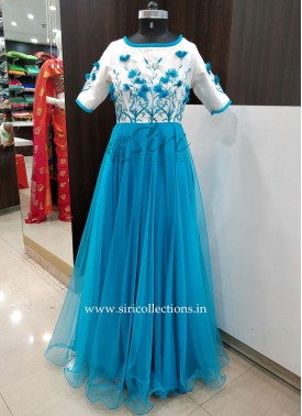 White Blue Lovely Long Frock