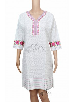 White Cotton Kurti with Allover Embroidery Work