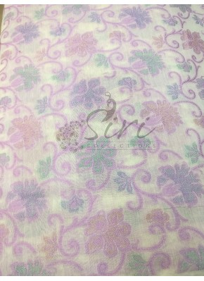 White Lilac Pink Chanderi Fabric in Self Design By Meter