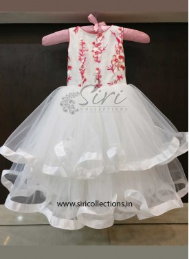 White Net Kids Stitched Double Layered Frock for one year old