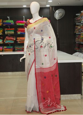 White Red Pure Linen Saree in Self Multi Colour Buti