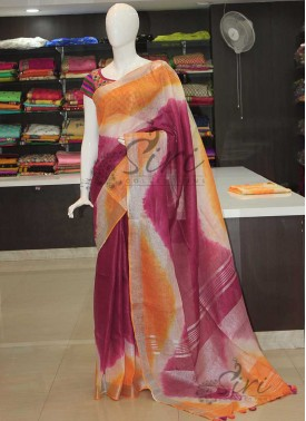Wine Colour Orange Shibori Pure Linen Saree in Silver Zari