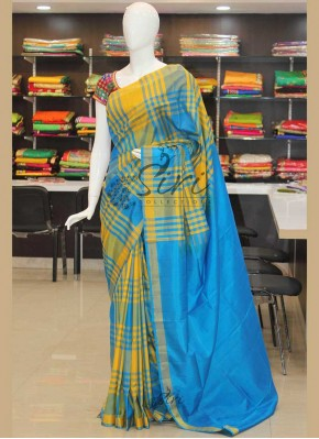 Yellow Ananda Blue Checks Pattu Silk Saree