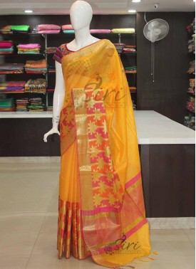 Yellow Banarasi Cotton Silk Saree