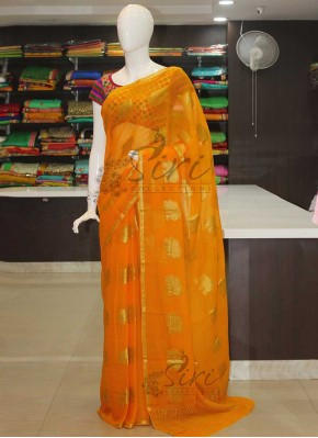 Yellow Banarasi Georgette Saree in Elephant Butis