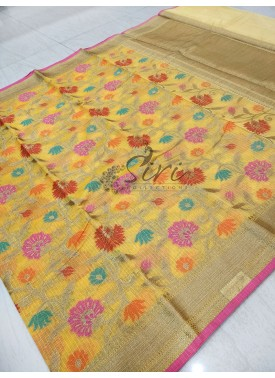 Yellow Banarasi Kota Saree in Multi Colour Weave