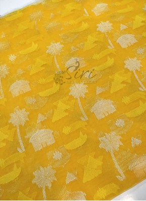 Yellow Banarasi Net Fabric in Silver Zari Per Meter