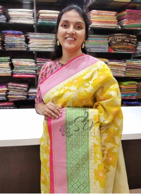 Yellow Banarasi Organza Saree in Allover Jaal
