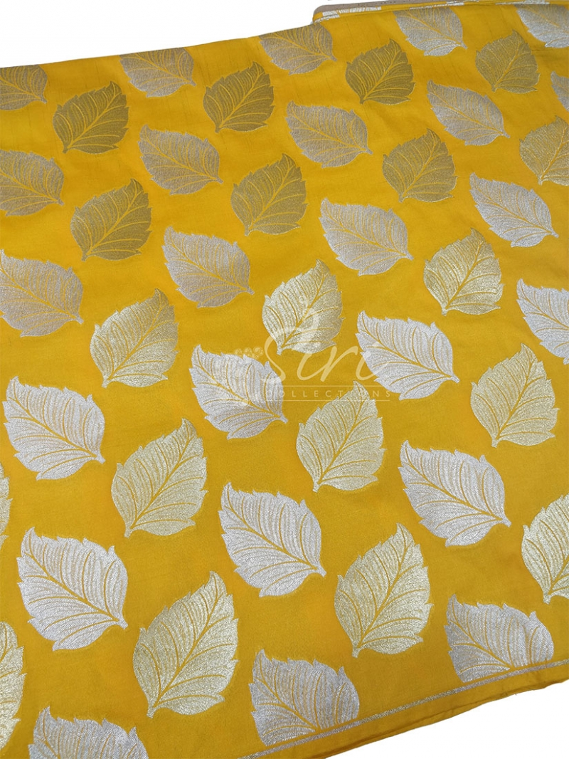 Yellow Banarasi Silk Fabric in Big Leaf Design