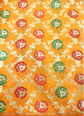 Yellow Banarasi Silk Fabric in Multi Meena Jaal Per Meter