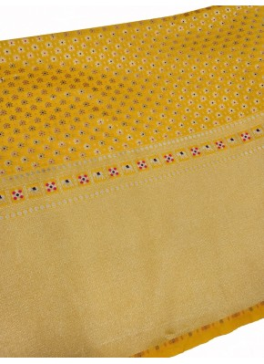 Yellow Banarasi Silk Fabric in one side Border Design Per Meter