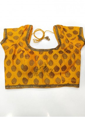 Yellow Banarasi Silk Stitched Padded Blouse