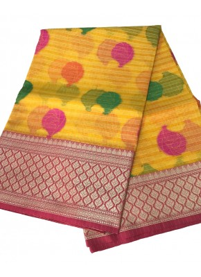 Yellow Banrasi Kora Saree in all over Multi Colour Buti Design