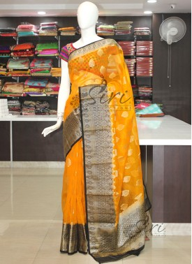 Yellow Black Banarasi Kora Saree
