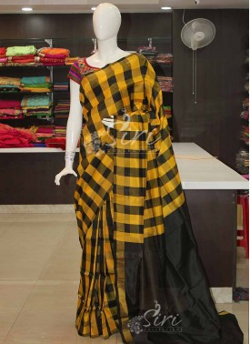 Yellow Black Checks Uppada Pattu Silk Saree