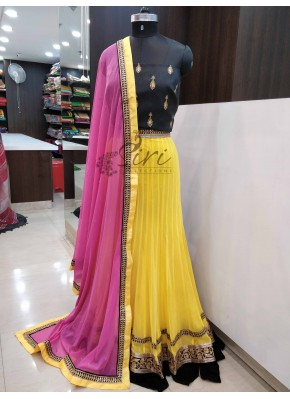 Yellow Black Pink Net Semi Stitched Lehenga Blouse Dupatta Set