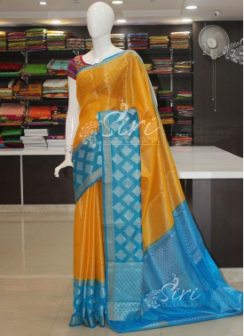 Yellow Blue Banarasi Soft Organza Saree
