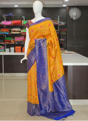 Yellow Blue Banarasi Soft Silk Saree in Multi Colour Butis