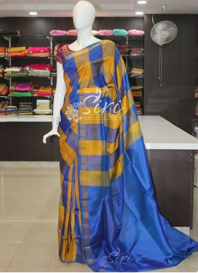 Yellow Blue Checks Uppada Silk Saree