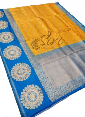 Yellow Blue Fancy Banarasi Silk Saree-