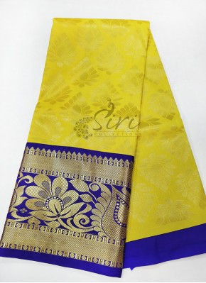 Yellow Blue Kanchi Pattu Pavadai Set