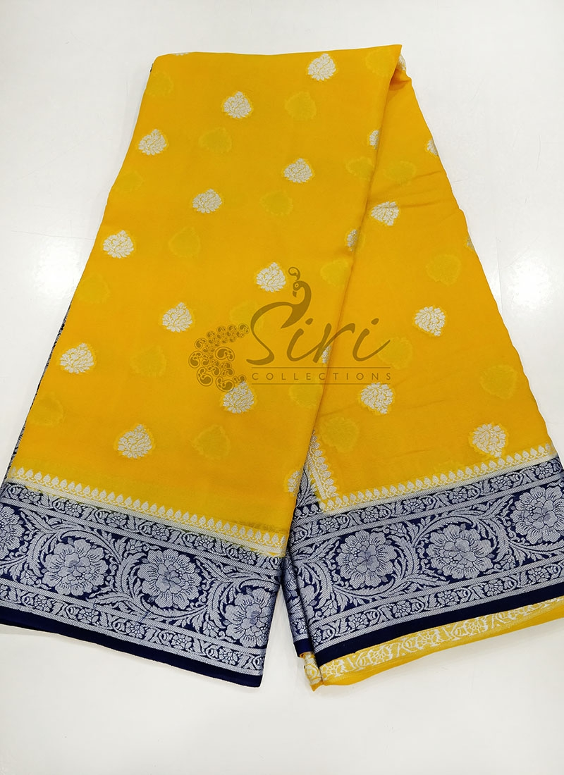 Yellow Blue Pure Banarasi Georgette Saree
