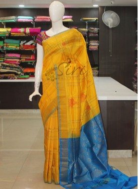 Yellow Blue Pure Uppada Silk Saree-