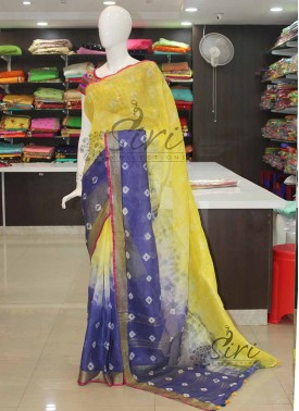 Yellow Blue Shibori Pure Linen Saree