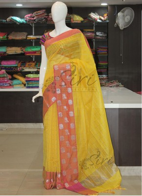 Yellow Chanderi Saree in Silver Zari